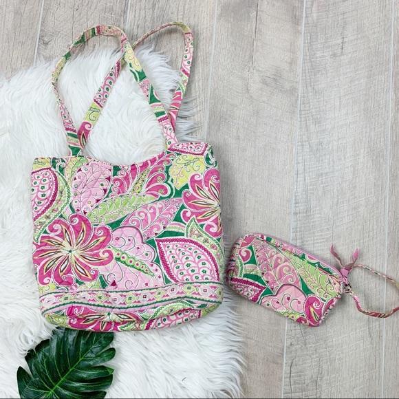 Vera Bradley Handbags - Vera Bradley Pink Floral Shoulder Bag Tote Purse